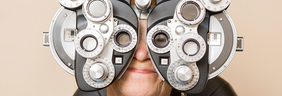 Woman getting an eye exam from her eye doctor in Lloydminster
